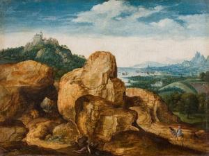 Landscape with Flight into Egypt, Ca 1545 by Cornelis Massys