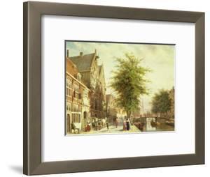 The Oude Zijds Voorburgwal in Amsterdam by Cornelis Springer