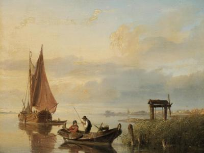 Fishing Vessels at Sunset by Cornelius Springer