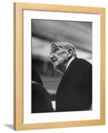 Dr. John Dewey Listening to Speaker at His 90th Birthday Celebration