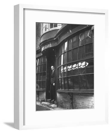 Tailor to All the Gentlemen of Winchester College Albert Gard, Standing in the Doorway of His Store