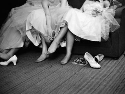 Teenage Girls Resting Feet at First Formal Dance at the Naval Armory