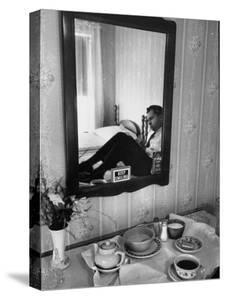 Vice Presidential Candidate Richard M. Nixon Eating Breakfast in His Hotel Room by Cornell Capa