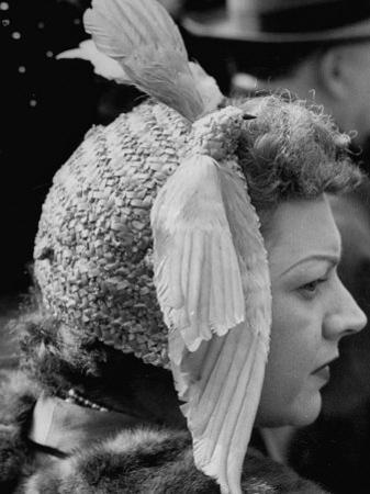 Woman Wearing Bird Decoration in Hair at Dwight D. Eisenhower's Inauguration