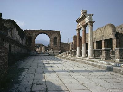 Corner of Forum and Arch of Tiberius, Pompeii, UNESCO World Heritage Site, Campania, Italy-Walter Rawlings-Photographic Print