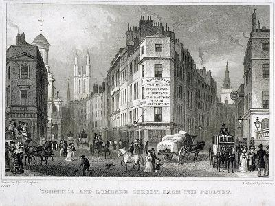 Cornhill, London, 1830-S Lacey-Giclee Print