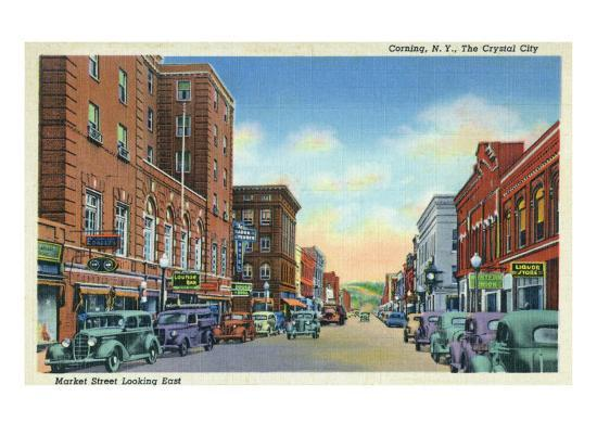 Corning, New York, Eastern View on Market Street of the Crystal City-Lantern Press-Art Print