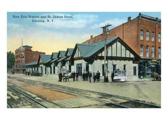 Corning, New York - New Erie Train Station and St. James Hotel View-Lantern Press-Art Print