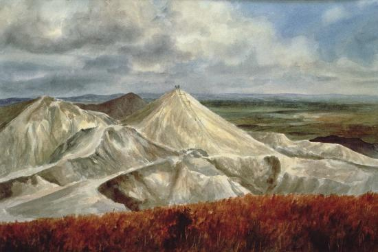 Cornish Landscape - China Clay Quarries at St. Austell-Vic Trevett-Giclee Print
