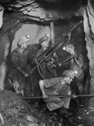Cornish Tin Miners Below Ground--Photographic Print