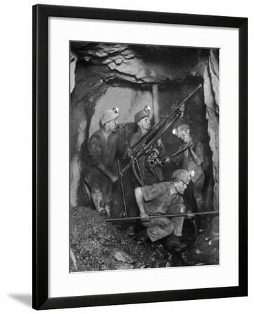 Cornish Tin Miners Below Ground--Framed Photographic Print