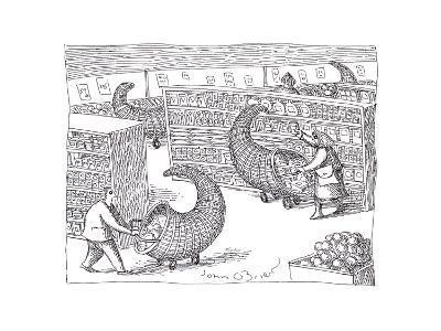 Cornucopia Shoppers - Cartoon-John O'brien-Premium Giclee Print