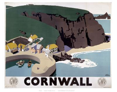 Cornwall Cliff and Harbour--Art Print