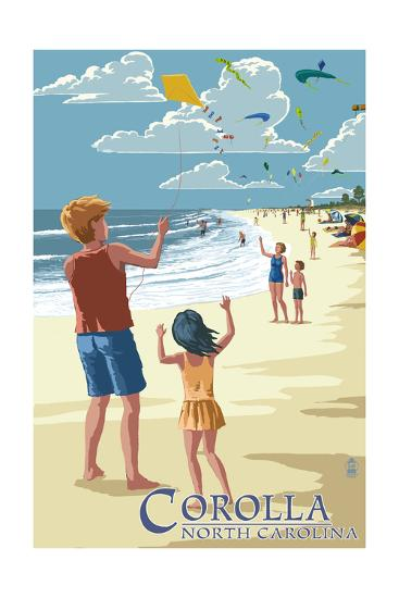 Corolla, North Carolina - Kite Flyers-Lantern Press-Art Print