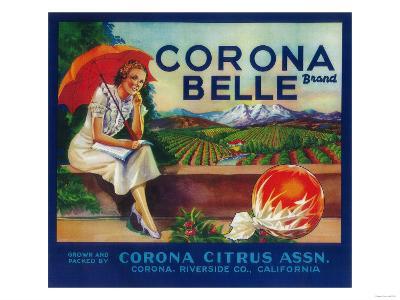 Corona Belle Orange Label - Corona, CA-Lantern Press-Art Print