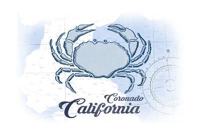 Coronado, California - Crab - Blue - Coastal Icon-Lantern Press-Art Print