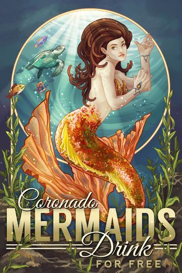 Coronado, California - Mermaid's Drink for Free-Lantern Press-Wall Mural