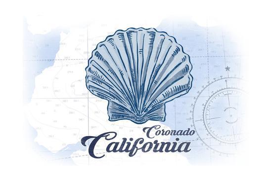 Coronado, California - Scallop Shell - Blue - Coastal Icon-Lantern Press-Art Print
