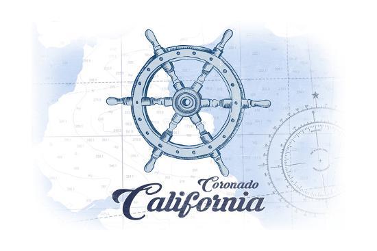 Coronado, California - Ship Wheel - Blue - Coastal Icon-Lantern Press-Art Print