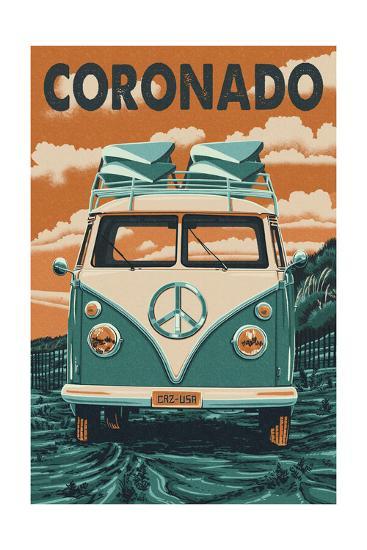 Coronado, California - VW Van-Lantern Press-Art Print