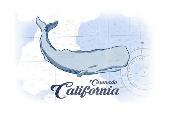 Coronado, California - Whale - Blue - Coastal Icon-Lantern Press-Art Print