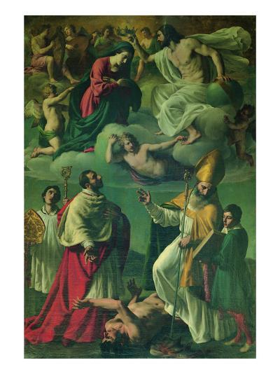 Coronation of the Virgin and Sts Charles Borromeo and Ubald--Giclee Print