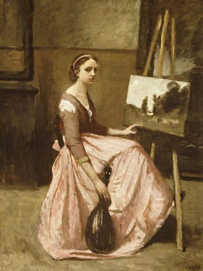 Corot's Studio (Young Girl in Pink Dress Sitting by an Easel with a Mandolin)-Jean-Baptiste-Camille Corot-Giclee Print