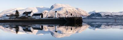 Corpach Lighthouse on Loch Eil with Ben Nevis and Fort William in the Background, Highland Region, -Nadia Isakova-Photographic Print