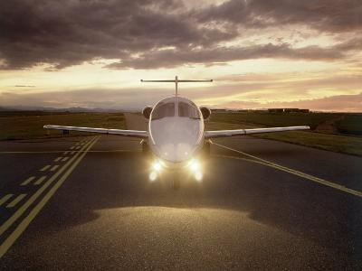 Corporate Jet on Runway-Stephen Collector-Photographic Print
