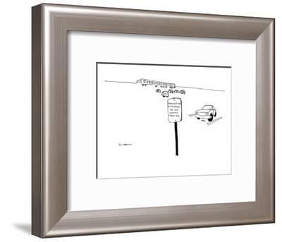Corporate parking lot sign next to lone parking spot reads: 'Disgruntled E? - New Yorker Cartoon-Michael Shaw-Framed Premium Giclee Print