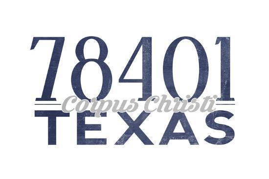 Corpus Christi, Texas - 78401 Zip Code (Blue)-Lantern Press-Art Print