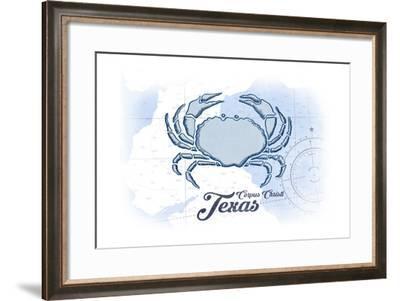 Corpus Christi, Texas - Crab - Blue - Coastal Icon-Lantern Press-Framed Art Print