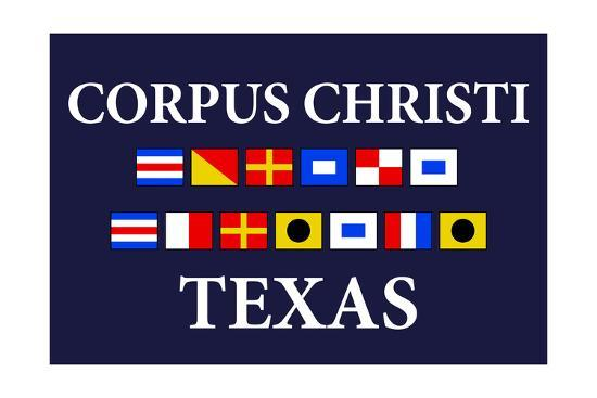 Corpus Christi Texas Nautical Flag Lantern Press Art Print