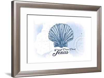 Corpus Christi, Texas - Scallop Shell - Blue - Coastal Icon-Lantern Press-Framed Art Print