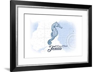 Corpus Christi, Texas - Seahorse - Blue - Coastal Icon-Lantern Press-Framed Art Print