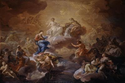 La Santísima Trinidad, la Virgen y santos, 1755-1756