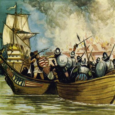 Cortes Captured the Young King Cuauhtemoc as He Tried to Escape by Canoe-Alberto Salinas-Giclee Print