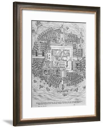 Cortes' Plan of Tenochtitlan--Framed Giclee Print