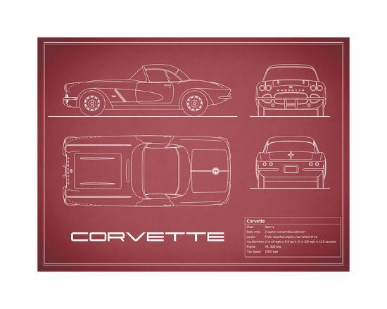 Corvette 33BHP-Maroon-Mark Rogan-Giclee Print
