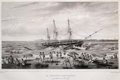 Corvette Astrolabe in Danger on Coral Reef at Island of Tongatapu--Giclee Print