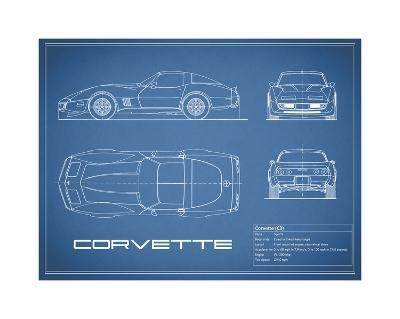 Corvette C3-Blue-Mark Rogan-Giclee Print
