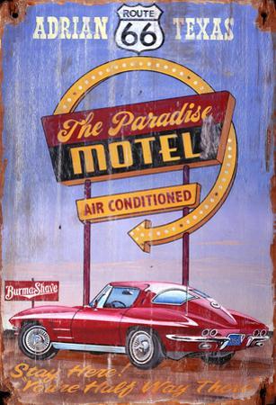 Corvette Route 66 Vintage Wood Sign