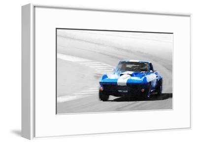 Corvette Stingray Laguna Seca Watercolor-NaxArt-Framed Art Print