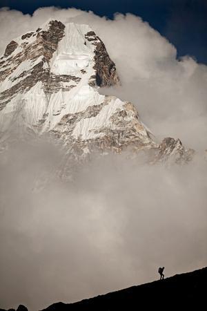 A Climber Walks Below the Southwest Ridge of Ama Dablam in the Khumbu Region of Nepal