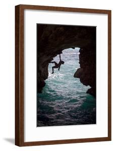 A Rock Climber Climbing Without Ropes Above the Mediterranean Sea by Cory Richards