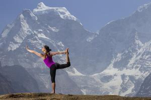 A Woman Practices the Lord of the Dance Pose or Natarajasana by Cory Richards