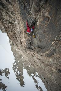 An Expedition Team Member Six Hundred Feet Up the Side of Bertha's Tower, a 2,000-Foot Spire by Cory Richards