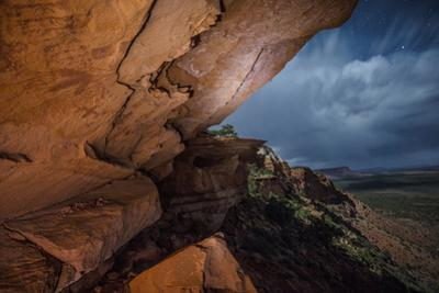 Anasazi Pictographs Painted on the Underside of an Overhang Depict Dinosaur Tracks by Cory Richards