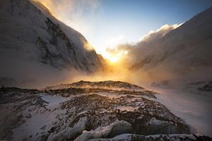 Nuptse Mountain and the West Shoulder of Mount Everest at Sunset by Cory Richards