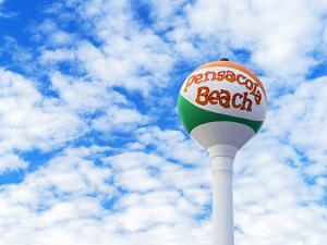 Pensacola Beach Florida Iconic Beach Ball Water Tower with Blue Skies by Cory Woodruff